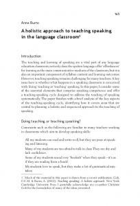 A holistic approach to teaching speaking in the language classroom1