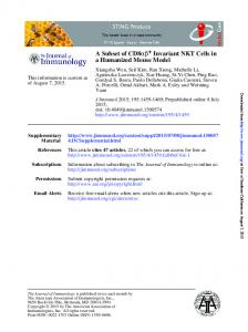 a Humanized Mouse Model Invariant NKT Cells in + ...