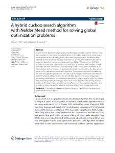 A hybrid cuckoo search algorithm with Nelder Mead method for ... - Core