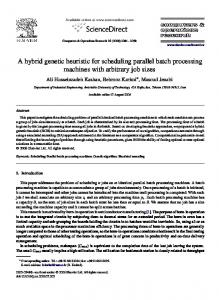 A hybrid genetic heuristic for scheduling parallel ... - Semantic Scholar