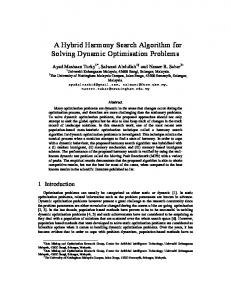 A Hybrid Harmony Search Algorithm for Solving ... - Semantic Scholar