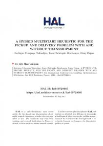 a hybrid multistart heuristic for the pickup and delivery problem ... - Hal