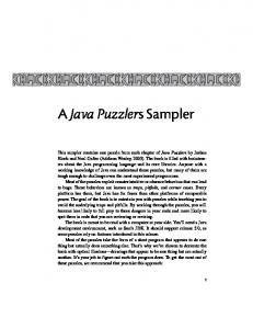 A Java Puzzlers Sampler