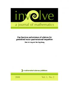 a journal of mathematics - Mathematical Sciences Publishers