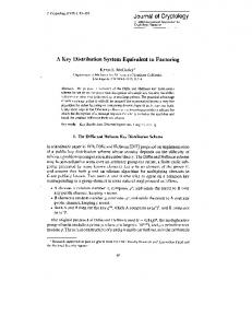 A Key Distribution System Equivalent to Factoring
