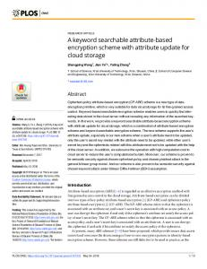 A keyword searchable attribute-based encryption scheme with ... - PLOS
