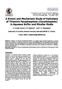 A Kinetic and Mechanistic Study of Hydrolysis of