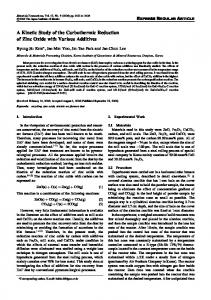 A Kinetic Study of the Carbothermic Reduction of Zinc Oxide with ...