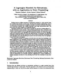 A Lagrangian Heuristic for Robustness, with an ... - Semantic Scholar