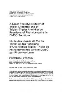A Laser Photolysis Study of Triplet-Triplet Annihilation Reactions of