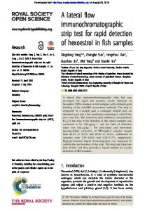 A lateral flow immunochromatographic strip test for rapid detection of