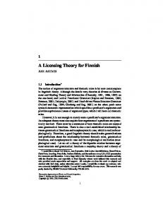 A Licensing Theory for Finnish - General Guide To Personal and ...