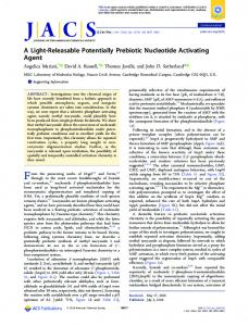 A Light-Releasable Potentially Prebiotic ... - ACS Publications