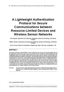 A Lightweight Authentication Protocol for Secure ... - Ulster University