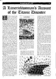 A Limerickwoman's account of the Titanic disaster by Des Ryan