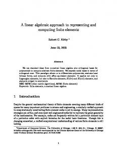 A linear algebraic approach to representing and computing finite ...