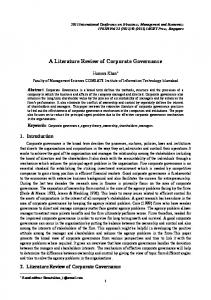 A Literature Review of Corporate Governance - ipedr