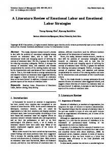 A Literature Review of Emotional Labor and Emotional Labor Strategies