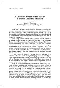 A Literature Review of the History of Korean Christian Education