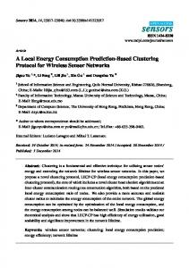 A Local Energy Consumption Prediction-Based Clustering ... - MDPI