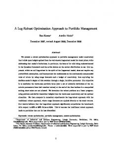 A Log-Robust Optimization Approach to Portfolio ... - Optimization Online