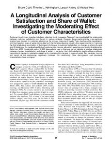 A Longitudinal Analysis of Customer Satisfaction and Share of Wallet