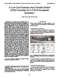 Design and construction of a low cost photovoltaic generator for a low cost generator auto transfer switch ats sciox Image collections
