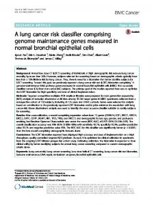 A lung cancer risk classifier comprising genome ... - BMC Cancer