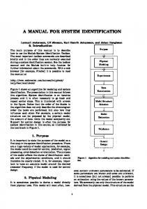 a manual for system identification - Automatic Control