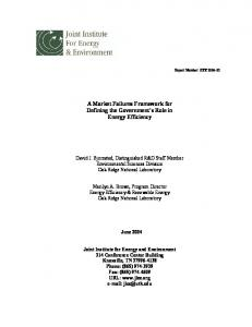 A Market Failures Framework for Defining the Government's Role in