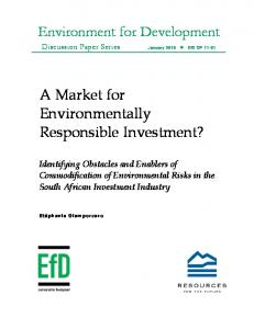 A Market for Environmentally Responsible Investment? Identifying ...
