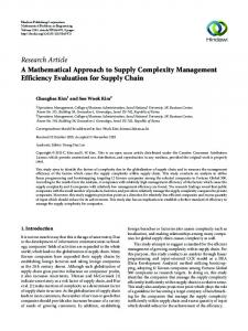 A Mathematical Approach to Supply Complexity Management ...