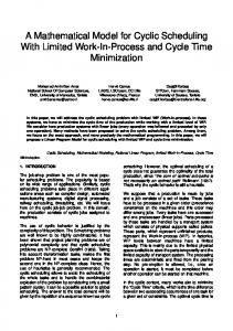 A Mathematical Model for Cyclic Scheduling With Limited Work ... - eWiC