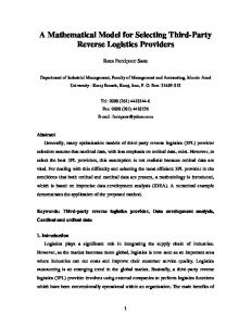 A Mathematical Model for Selecting Third-Party Reverse Logistics ...