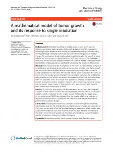 A mathematical model of tumor growth and its ... - Semantic Scholar