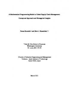 A Mathematical Programming Model to Global Supply Chain - CiteSeerX