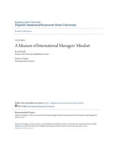 A Measure of International Managers' Mindset - Digital Commons ...