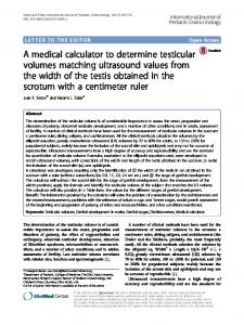 A medical calculator to determine testicular volumes matching ...