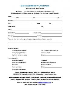 a Membership Application. - A Historic Community in the City of ...