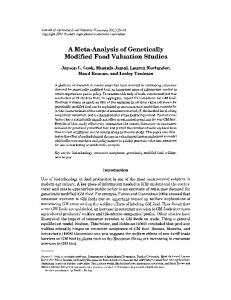 A Meta-Analysis of Genetically Modified Food ... - AgEcon Search