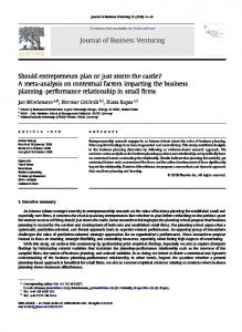 A meta-analysis on contextual factors impacting the business planning ...