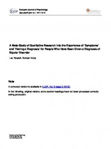 A Meta-Study of Qualitative Research Into the Experience of ...