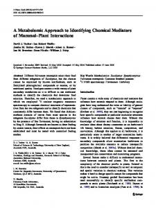 A Metabolomic Approach to Identifying Chemical Mediators of ... - ANU