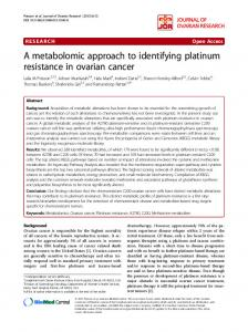 A metabolomic approach to identifying platinum resistance in ovarian ...