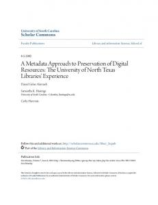 A Metadata Approach to Preservation of Digital ... - Scholar Commons