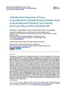 A Method for Detection of Trace Concentrations of Underivatized ...