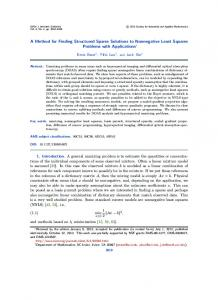 A Method for Finding Structured Sparse Solutions to Nonnegative ...