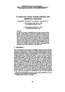 A method for robust variable selection with significance ... - UCL/ELEN