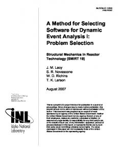 A Method for Selecting Software for Dynamic Event Analysis I ...