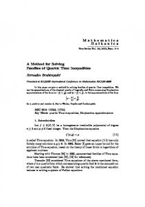 A Method for Solving Families of Quartic Thue Inequalities Bernadin ...